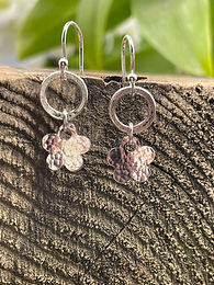 Bohemian Hammered Flower Sterling Silver Drop Earrings