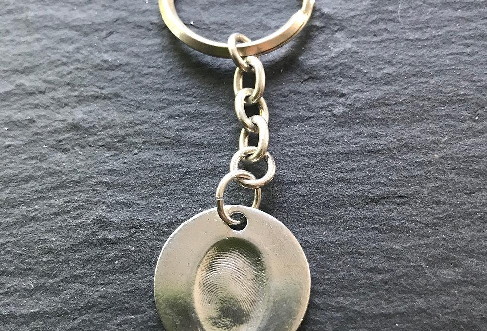 Circle Fingerprint Handmade Silver Keyring