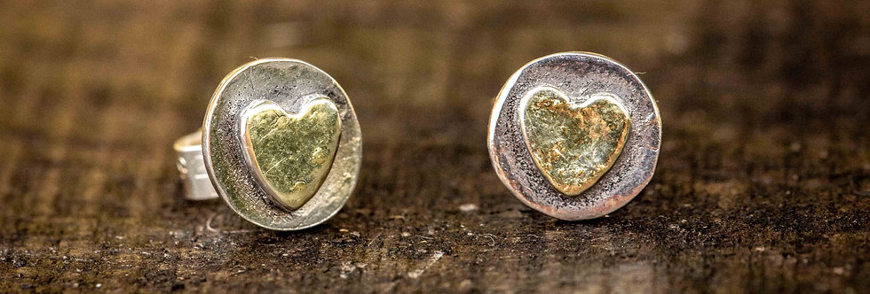 Heart 22ct gold plated Silver  Stud Earrings