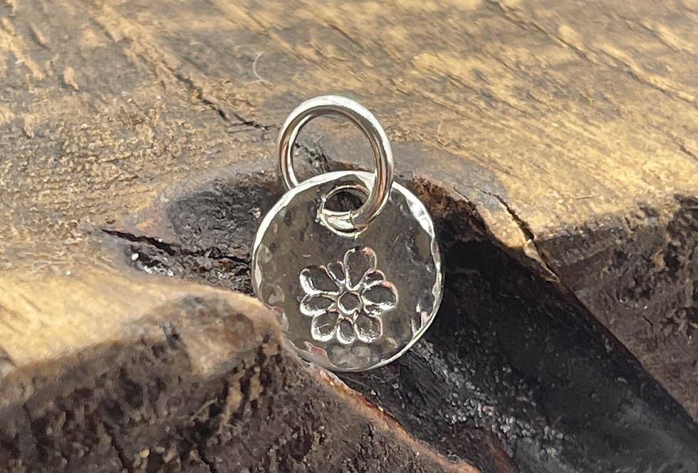 Forget Me Not Sterling Silver Pebble Charm