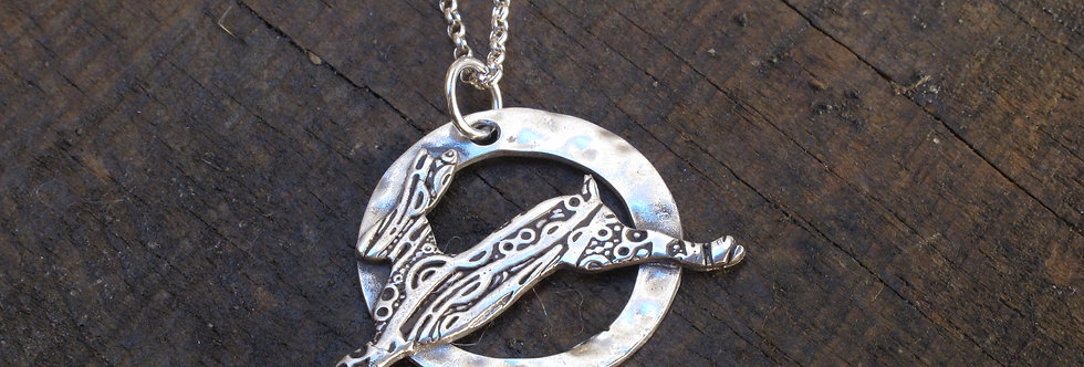 Leaping Hare Sterling Silver Necklace