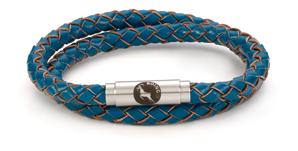 Boing Teal Skinny Leather Double Wrap Bracelet