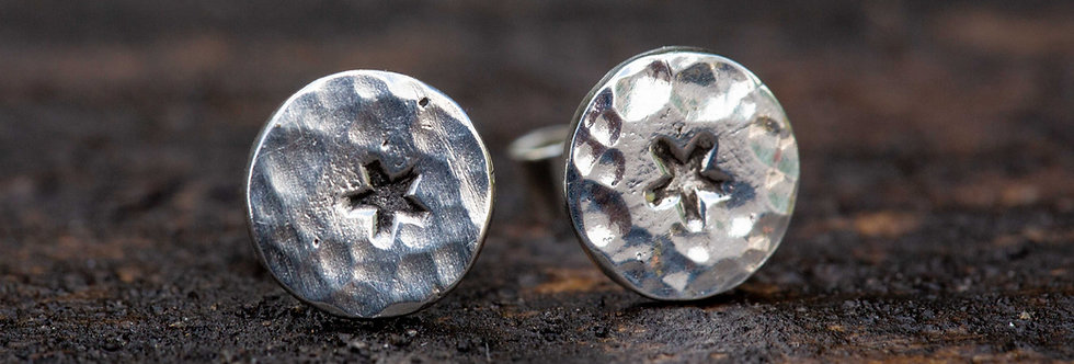 Solid Star Silver Stud Earrings