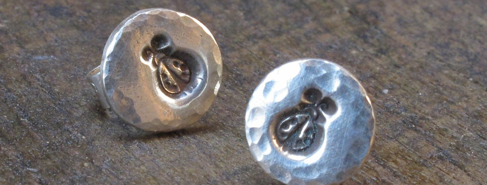 Ladybird Silver Stud Earrings