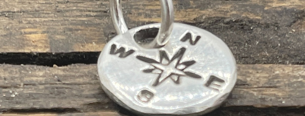 Compass Sterling Silver Pebble Charm