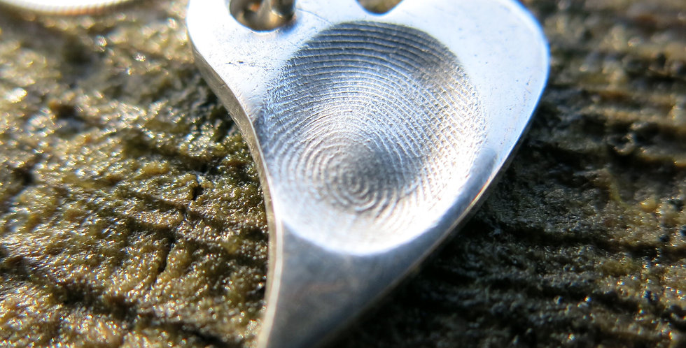Sweeping Heart Fingerprint Handmade Silver Pendant