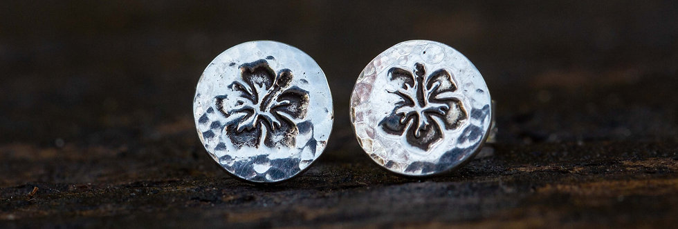 Hibiscus Silver Stud Earrings