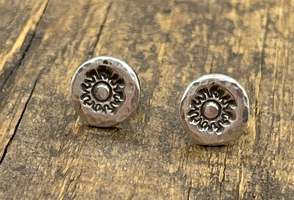 Sun Silver Stud Earrings