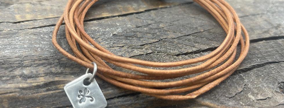 Dragonfly Charm Tan Leather Bracelet