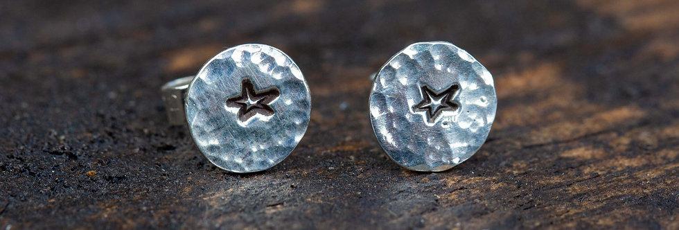 Star outline Silver Stud Earrings