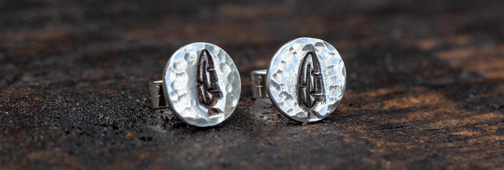 Feather Silver Stud Earrings