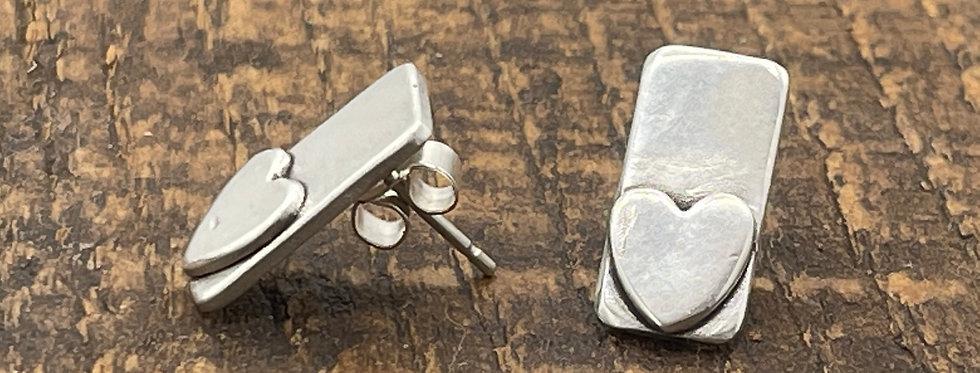 Heart Silver TBar Earrings