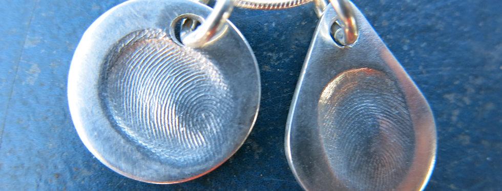 Teardrop Fingerprint Handmade Silver Charms
