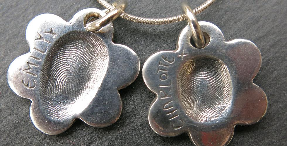 Flower Fingerprint Handmade Silver Pendant