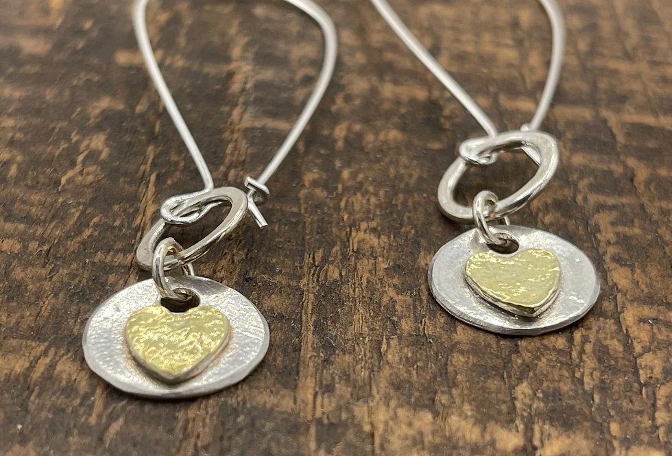 Gold Plated Heart  Drop Earrings