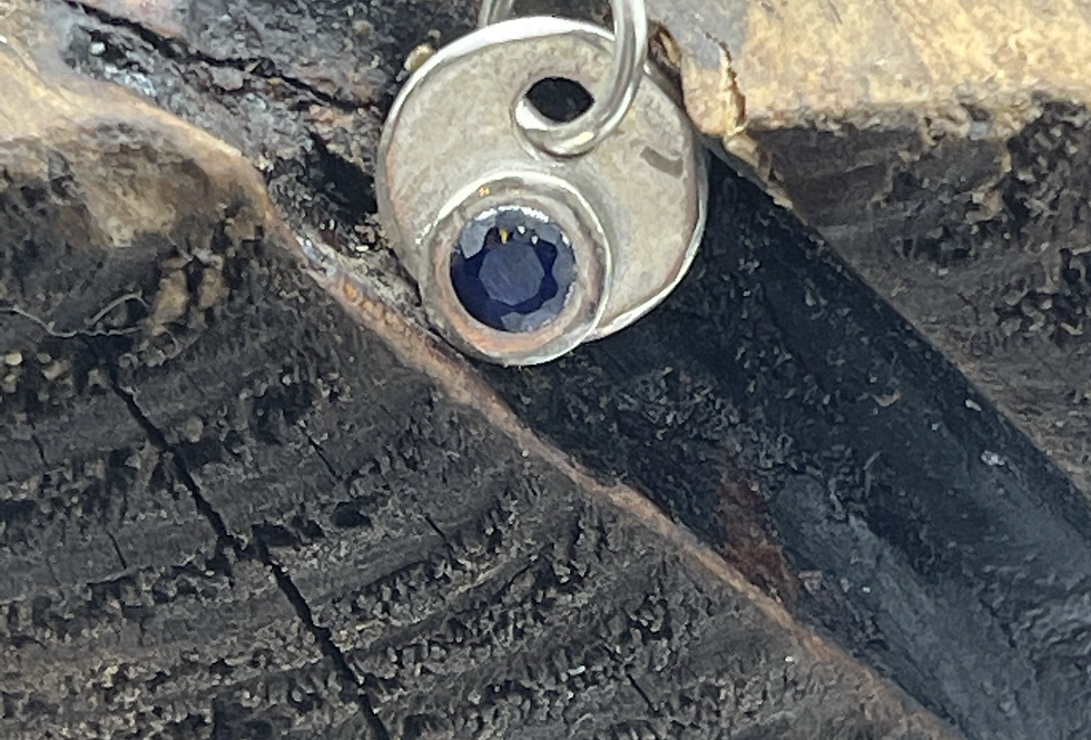 Sapphire Crystal Sterling Silver Charm