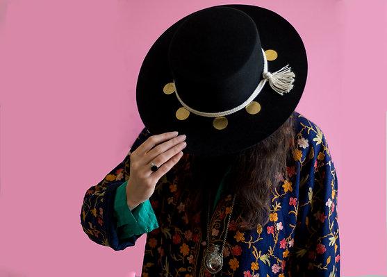 Black felt wide brimmed Matador  with custom made hatband