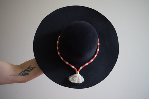 Navy Felt Wide Brimmed 'Capeline' with custom Hatband