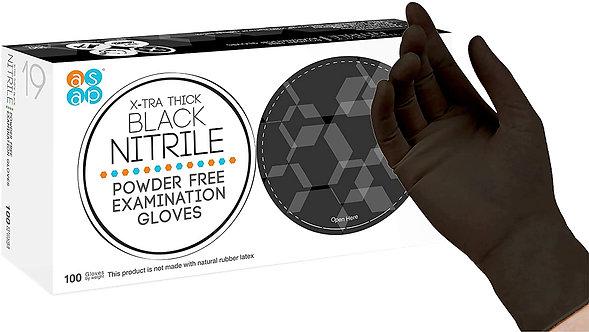 ASAP Black Nitrile Powder Free Examination Gloves,  Black