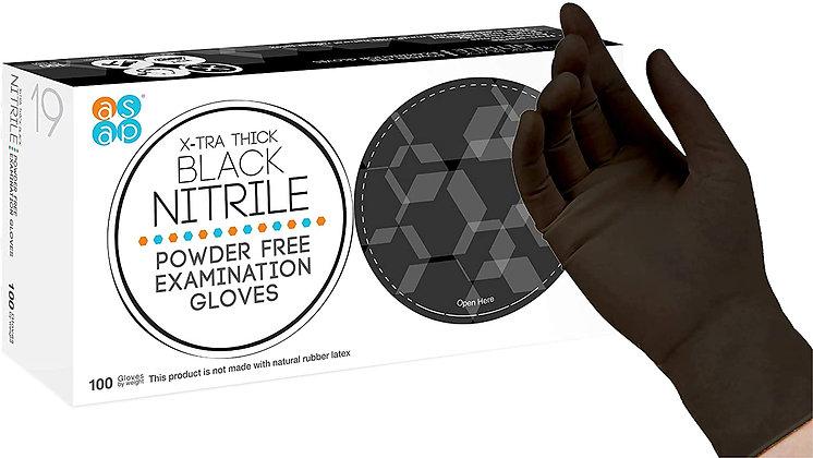 ASAP Black Nitrile Powder Free Examination Gloves,  Black SIZE S