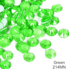 Extra Quality High Shine Neon Crystals Green   1728 pc 6 sizes