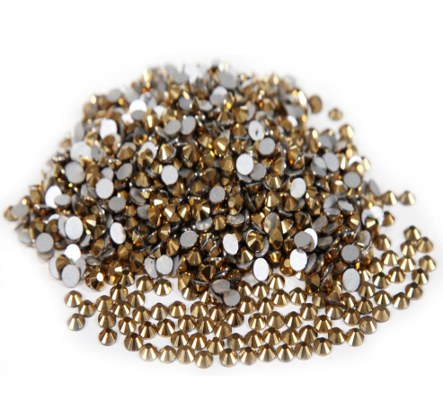 Extra Quality High Shine Crystals Gold 1728 pcs 6 sizes