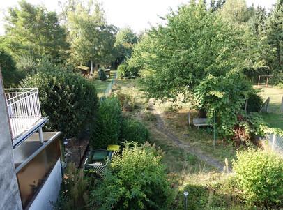 6072 Blick vom Balkon in den Garten