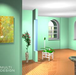 Иллюстрация использования цвета и фактур в интерьере для статьи по фен-шуй. Восток-дерево.