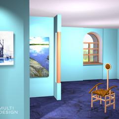 Иллюстрация использования цвета и фактур в интерьере для статьи по фен-шуй. Север-вода.