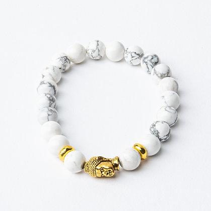 Howlite x Gold Buddha