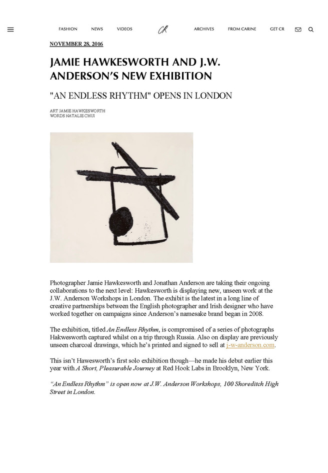 Jamie Hawkesworth and JW Anderson's New Exhibition | CR Fashion Book