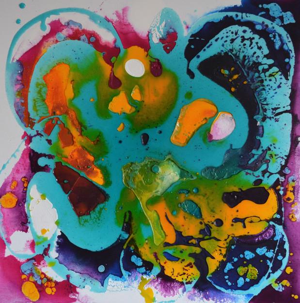blue pulp 50 x 50 cm Giessahrz, Acryl au