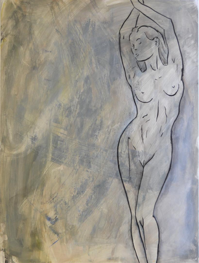 Torsion 60 x 80 cm Acryl, Tusche auf Mal