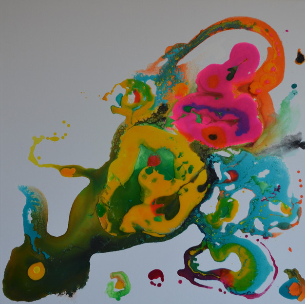 Kunterbunt 80 x 80 cm Acryl, Giessharz a