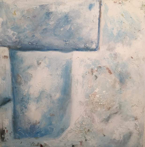 Santorini 80 x 80 cm mixed Media, Acyl a