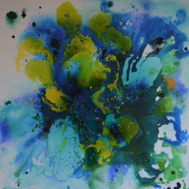 green and blue 80 x 80 cm Acryl, Giessha