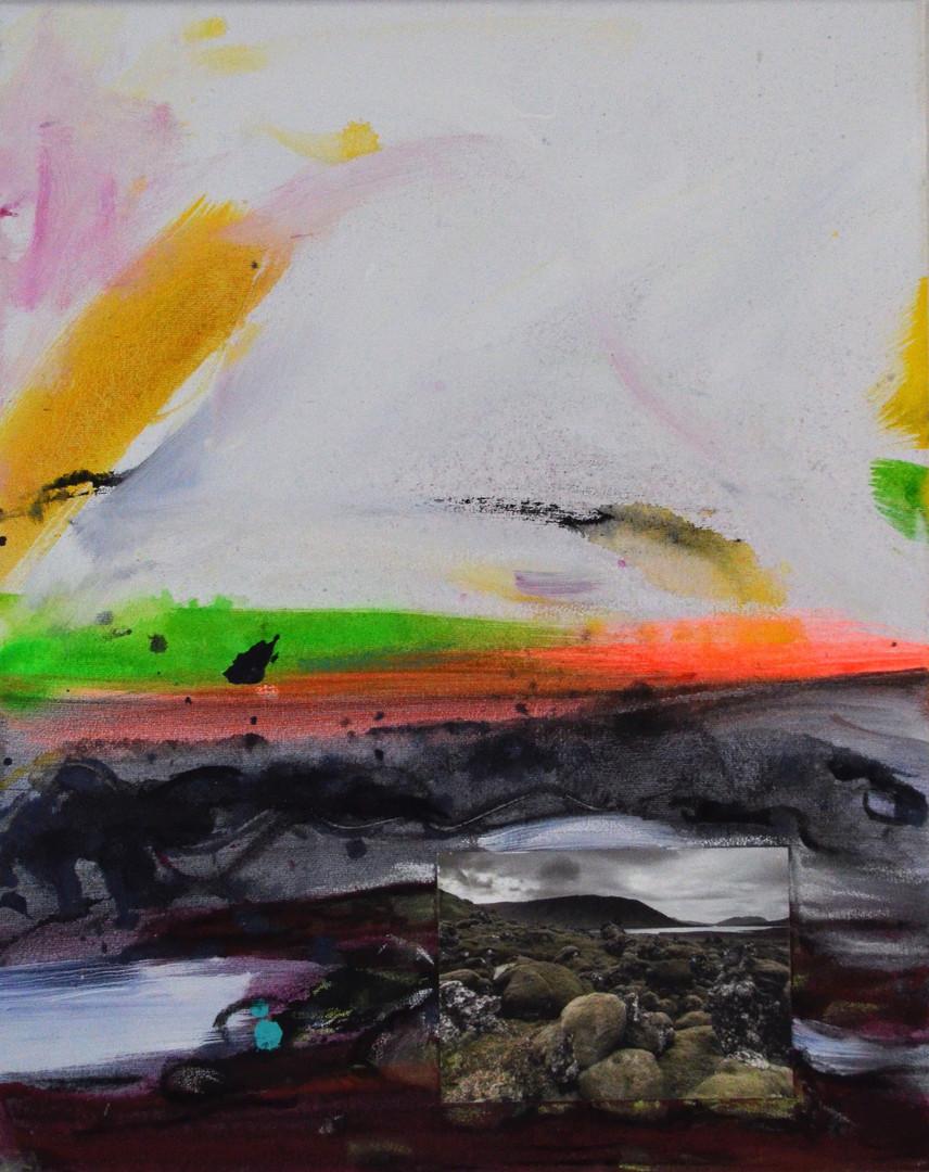 Island 40 x 50 cm Acrylfarbe, Kohle auf