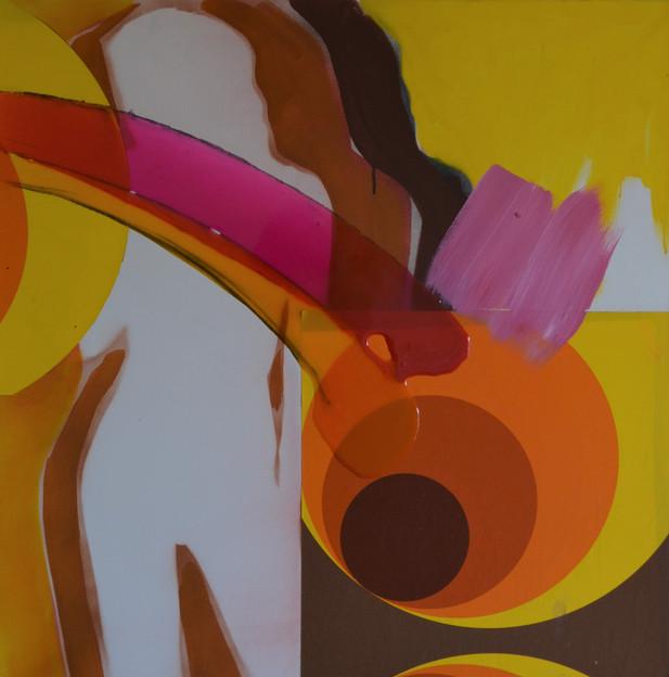 Miss 70,  80 x 80 x 4 cm Kollage, Acrylf