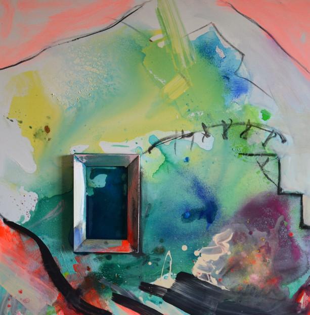 Bergblick 80 x 80 x 4 cm Acryl, Kohle, G