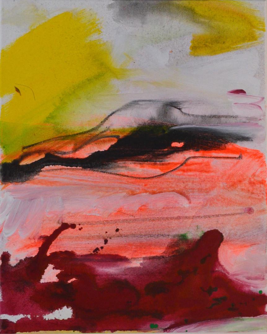 rote Wolke 40 x 50 cm Acrylfarbe, Kohle