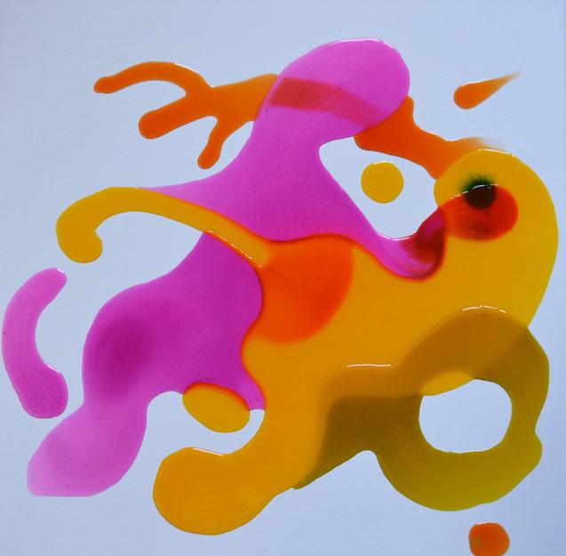 Yelow loves Pink 50 x 50 cm Giessharz au