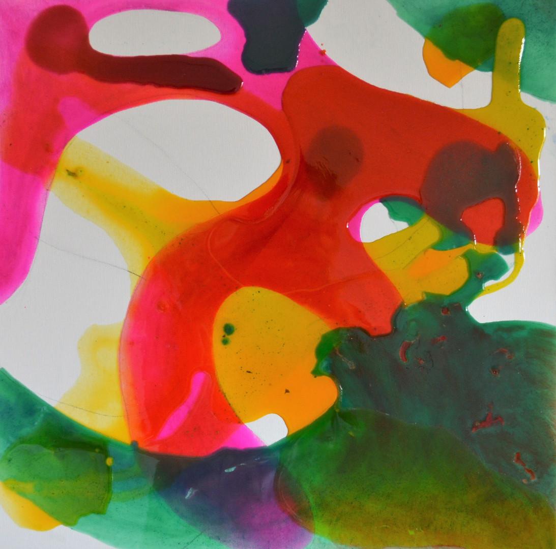 green kiss 50 x 50 cm Giessharz auf Lein