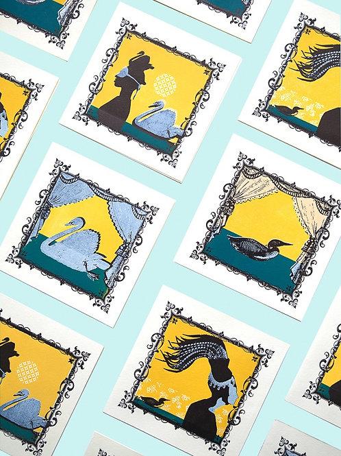Swan & Loon Letterpress Cards