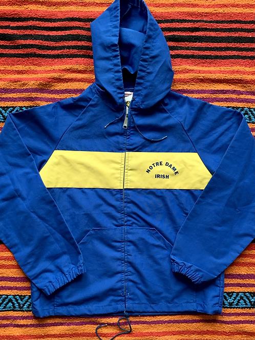 Vintage Norte Dame Irish blue and yellow lightweight jacket size small/medium