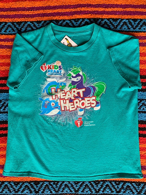 Vintage teal Heart Heroes T shirt size Small