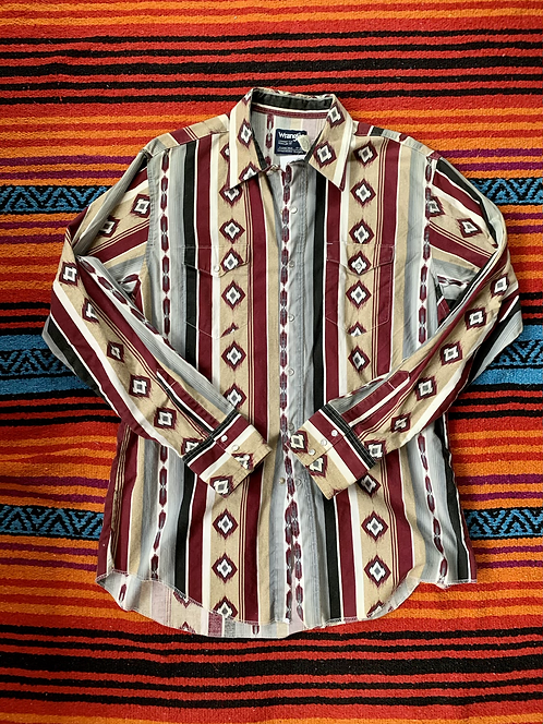 Vintage Wrangler tan and maroon patterned button down size large/XL
