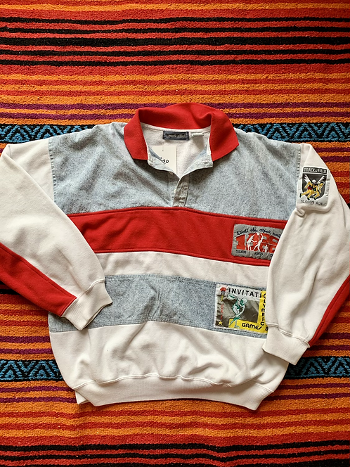 Vintage striped collared sweatshirt with Olympic patches size large/XL
