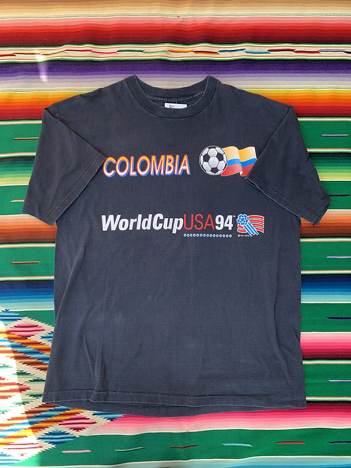 Vintage 1994 Colombia World Cup USA faded black t shirt size XL