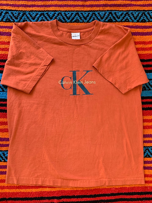 Vintage orange Calvin Klein Jeans T shirt size Large