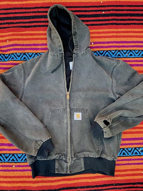 Vintage faded black Carhartt jacket size Large